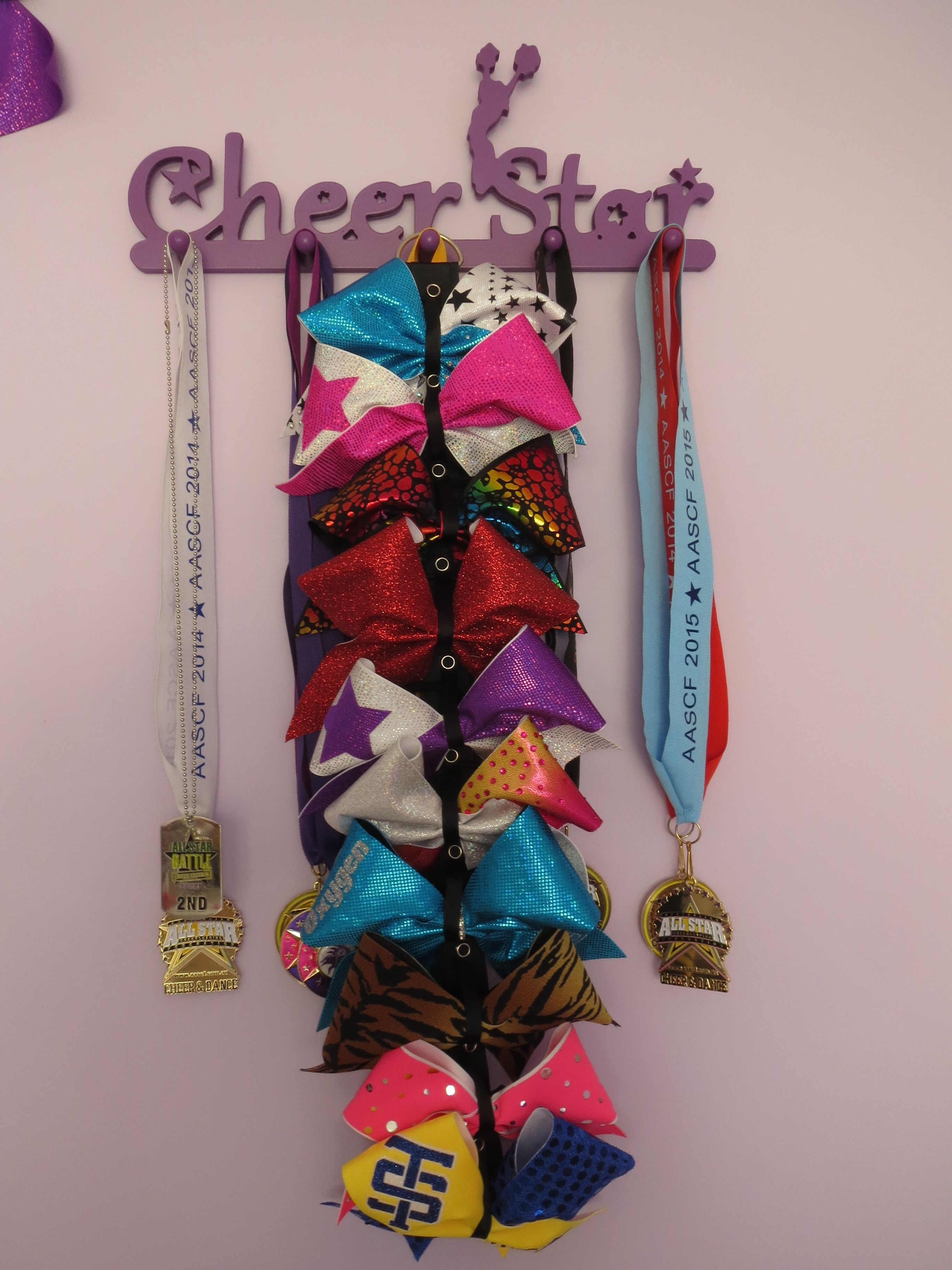Cheer bow holder for cheer bows and hair bows cheer bow hanger - Cheer Star Australia Medal Holder And Cheer Bow Holder