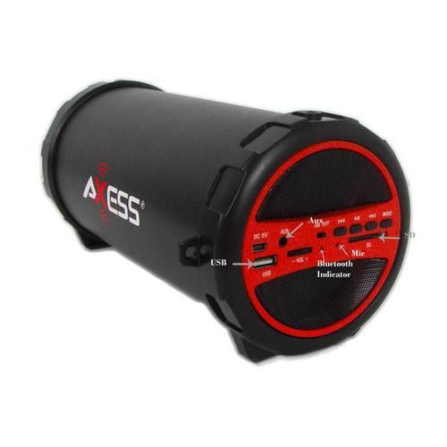 """Black//Red Axess Portable Wireless Bluetooth Speaker with 4/"""" Subwoofer"""