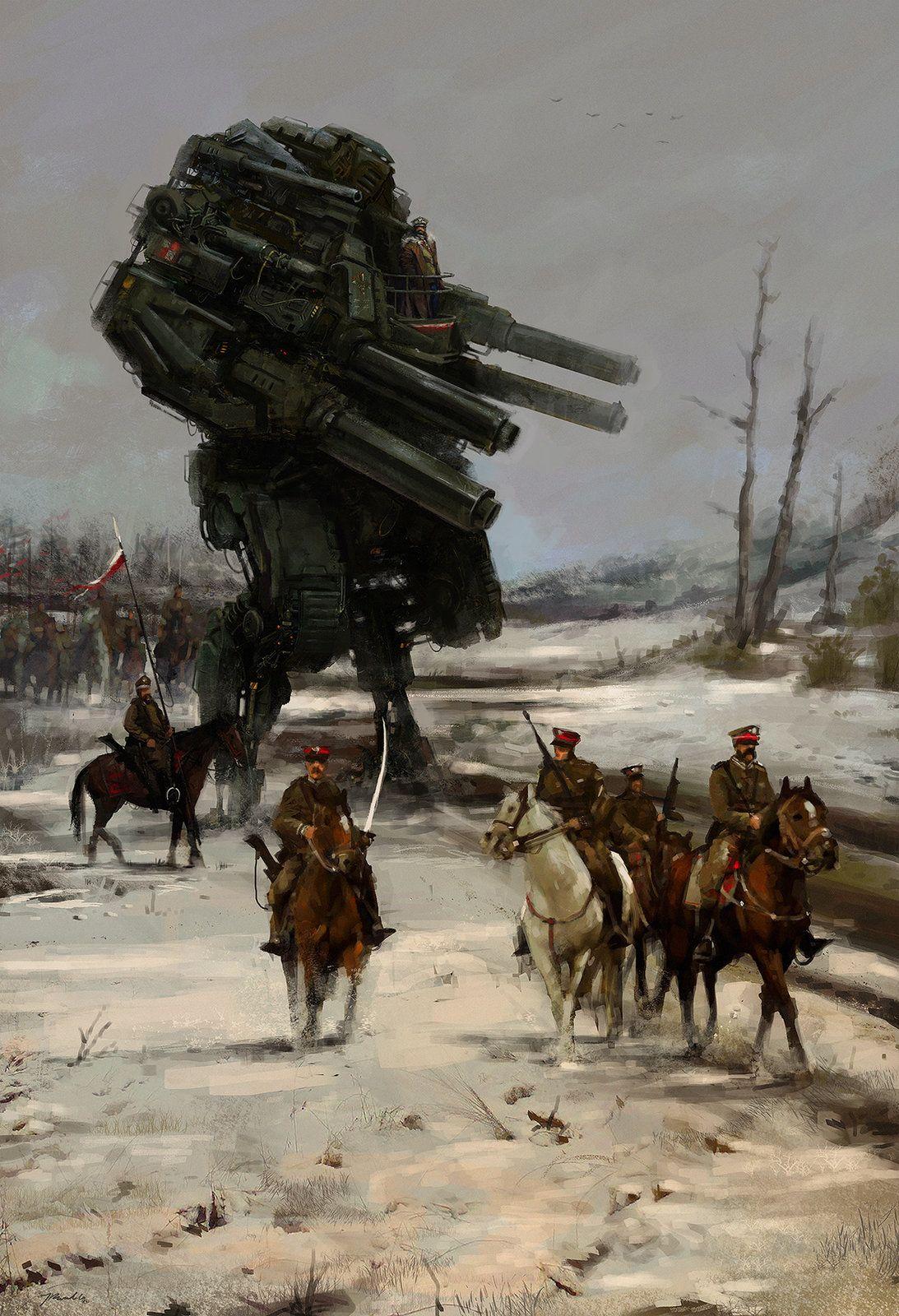 1920 - Warlord, Jakub Rozalski on ArtStation at https://www.artstation.com/artwork/1920-warlord