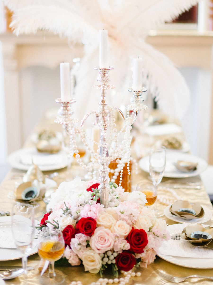 1920s inspired table decor. Glamorous Great Gatsby Wedding ...