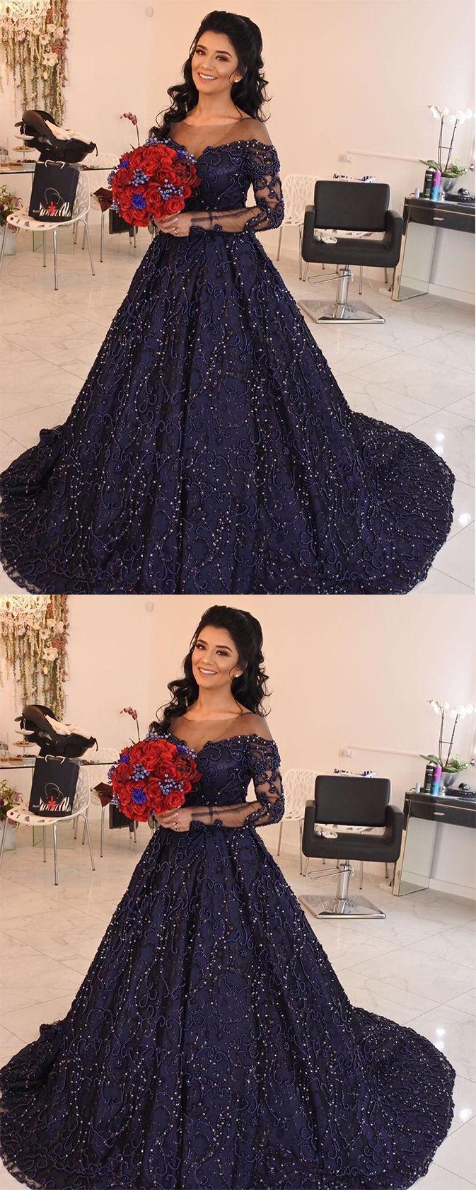 Dark navy prom dresslong prom dressesball gown prom dresseslong