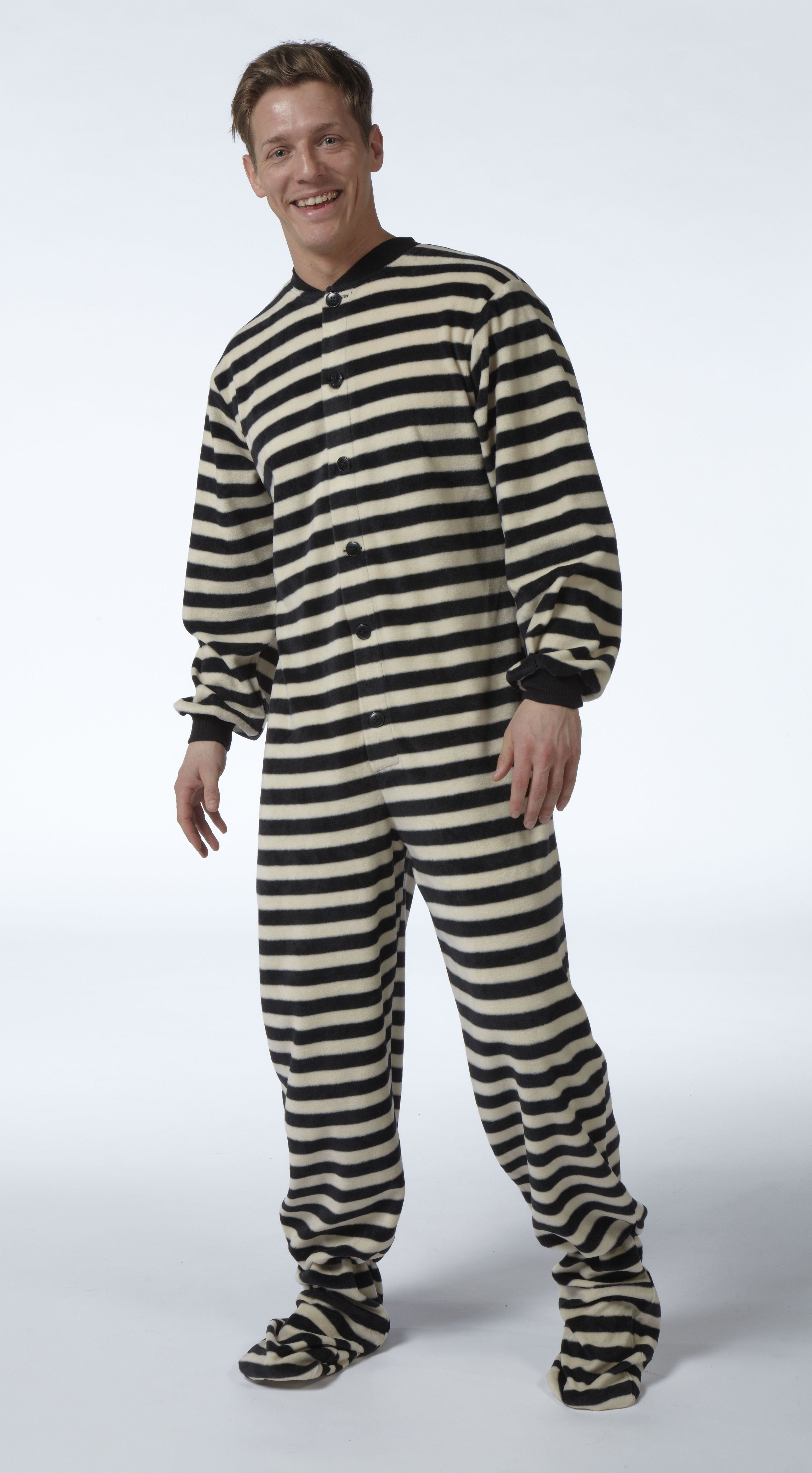 d8ddab31cd6d Snuggaroo Men s Black White Stripe All In One Footed Onesie Pyjamas PJs  Pajamas