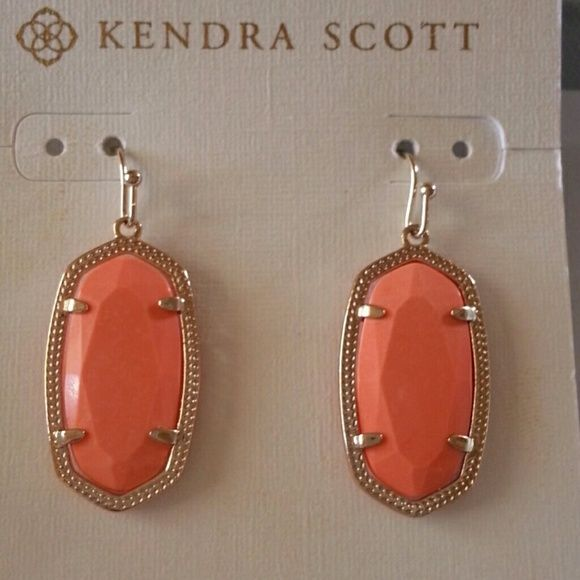 Kendra Scott Earrings 14k gold plated, Coral Color, brand new never worn Jewelry Earrings