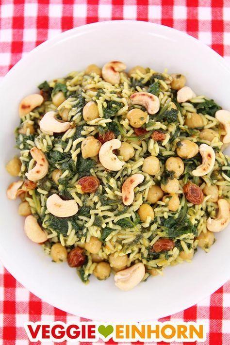 Vegane Kichererbsen-Spinat-Reispfanne   Schnell, gesund, lecker   Mit Video