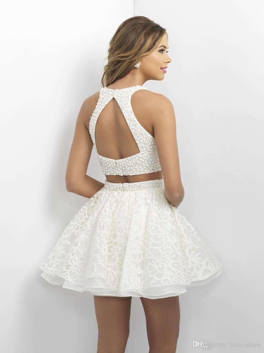 6a99a2a18e 2016 Cuatro nudos Fiesta Vestidos Little White cortos vestidos de baile con  las perlas camisa de encaje sin espalda mini vestidos de coctel del cuello  ...