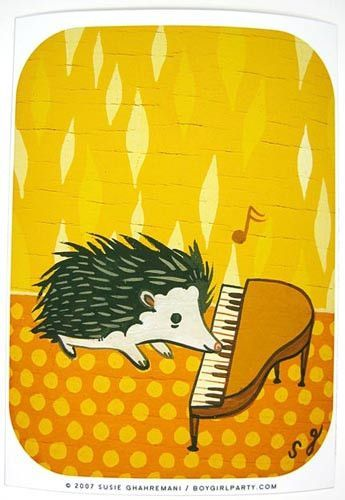 Plunk plunk plunk is the tiny sound of a tiny hedgehog playing a tiny piano with his tiny snout! Colorful and sweet sure to brighten up a room in both its subject matter and palette. You will receive