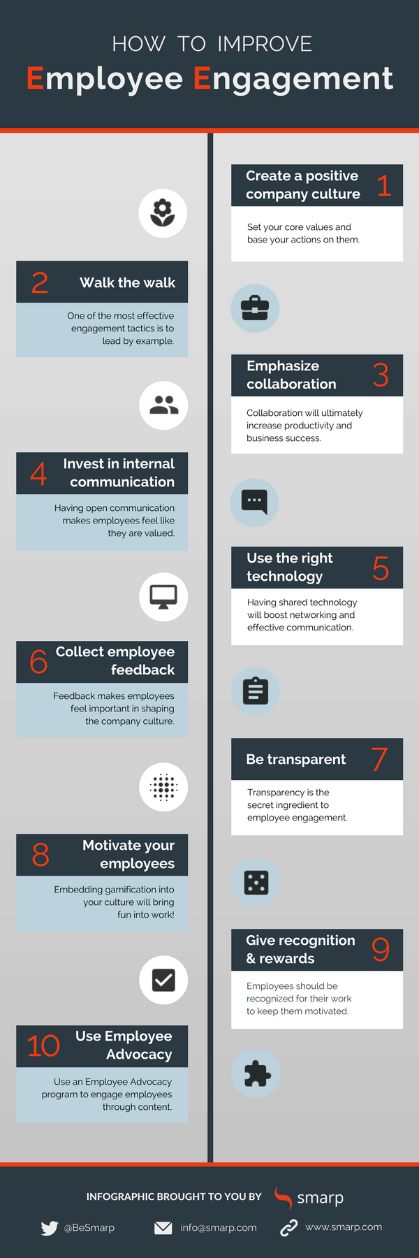 Smarp Infographic On How To Boost Employee Engagement By Creating A Positive W Improve Employee Engagement Employee Engagement Employee Engagement Infographic