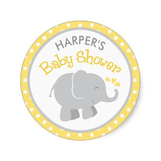 Elephant Baby Shower Stickers Yellow And Gray Elephant Baby
