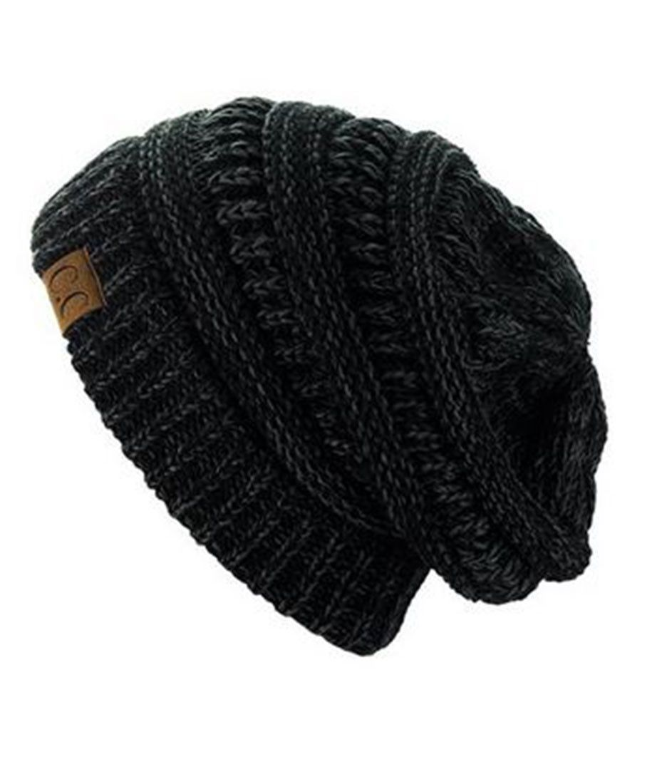 8e9127949 Two-Toned Unisex Soft Stretch Knit Slouchy Skull Beanie