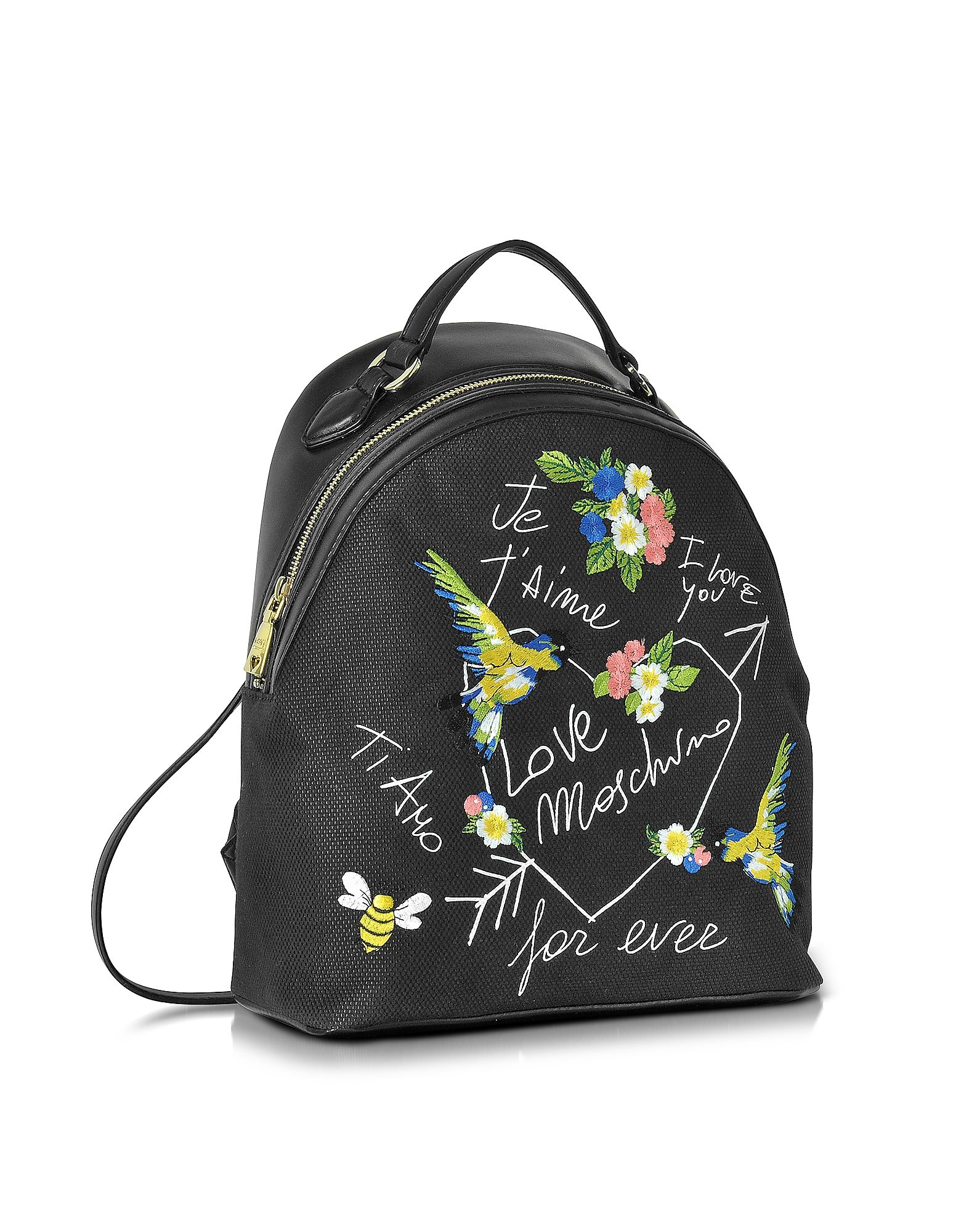 3a09091e258 Love Moschino Black Canvas and Black Eco Leather Backpack w/Embroidery I  Love You at FORZIERI