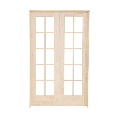 Builders Choice 48 In X 80 In 10 Lite Clear Wood Pine Prehung Interior French Door Hdcp151040 The Home Depot Prehung Interior French Doors French Doors Interior French Doors