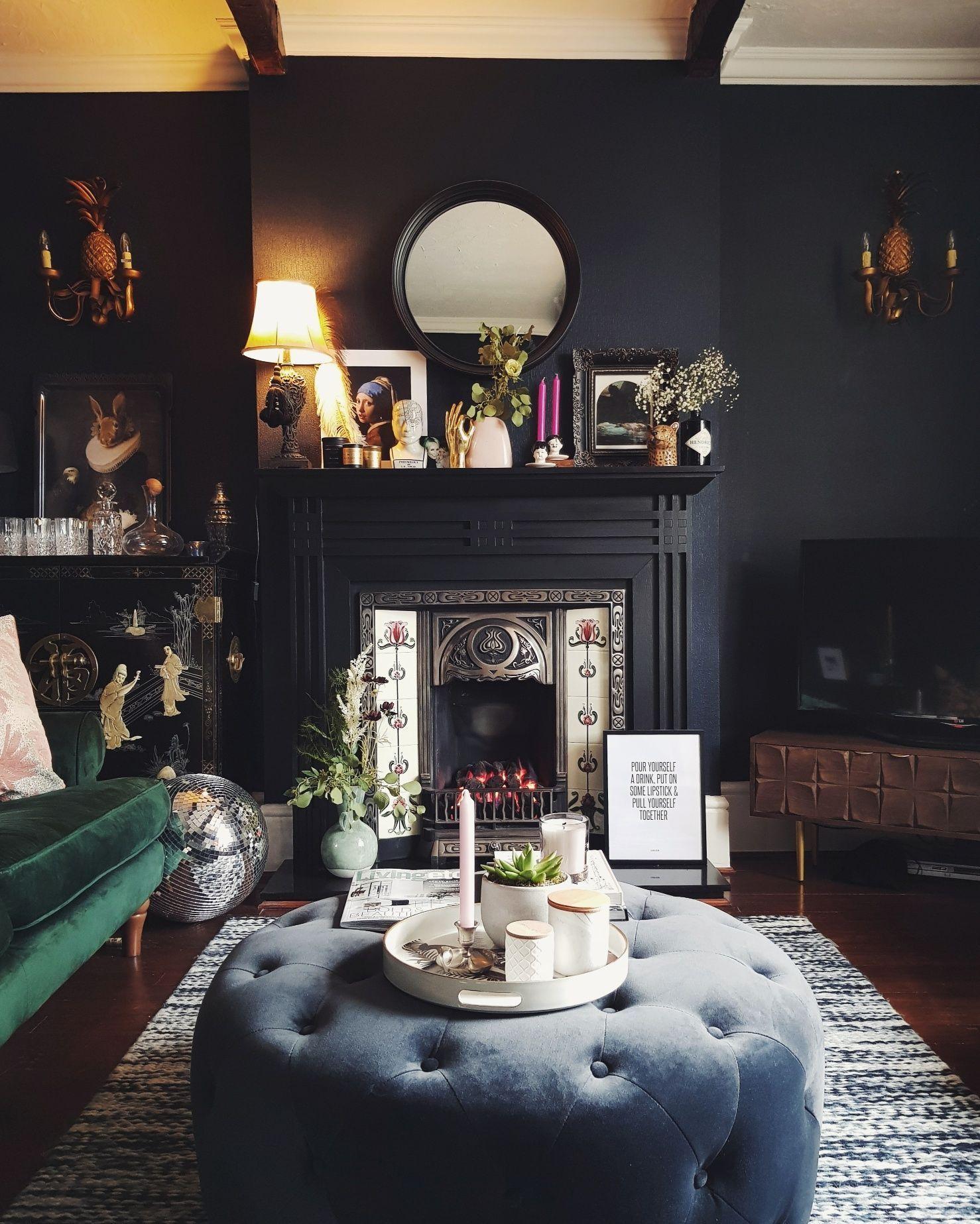 49 Adorable Black Living Room Ideas That Looks Cool Cluedecor Victorian Living Room Dark Blue Living Room Living Room Design Dark Dark decor living room