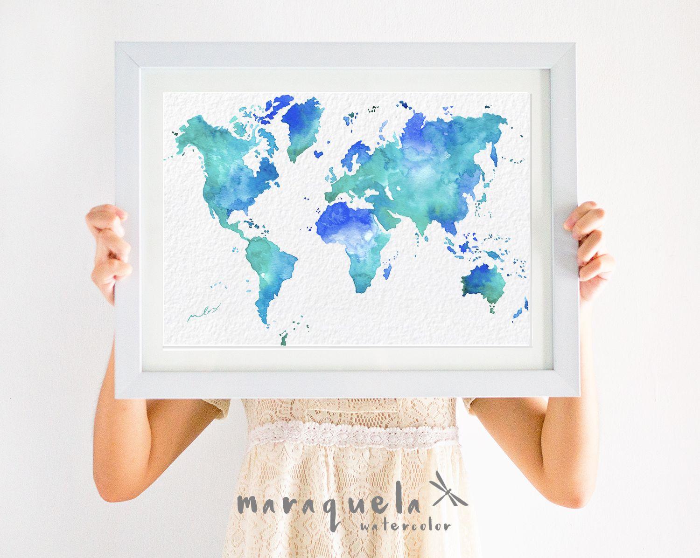 Original world map watercolor turquoise blue large wall art print original world map watercolor turquoise blue large wall art print watercolour poster gift homedecor wedding gift art handmadepa mundi gumiabroncs Images