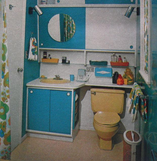 1970s Bathroom Tiles: 1960s Bathroom Colorful Vintage Interior Design Photo In