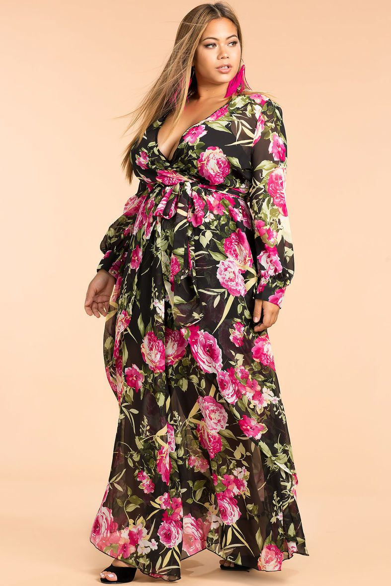4d68d0b79289 Floral Chiffon Maxi Dress Plus Size - raveitsafe