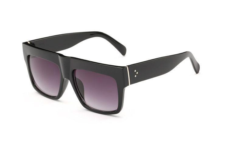25bb809d5dd Luxury Brand Designer Dupe Kim style Flat Top Sunglasses Women Retro Shades