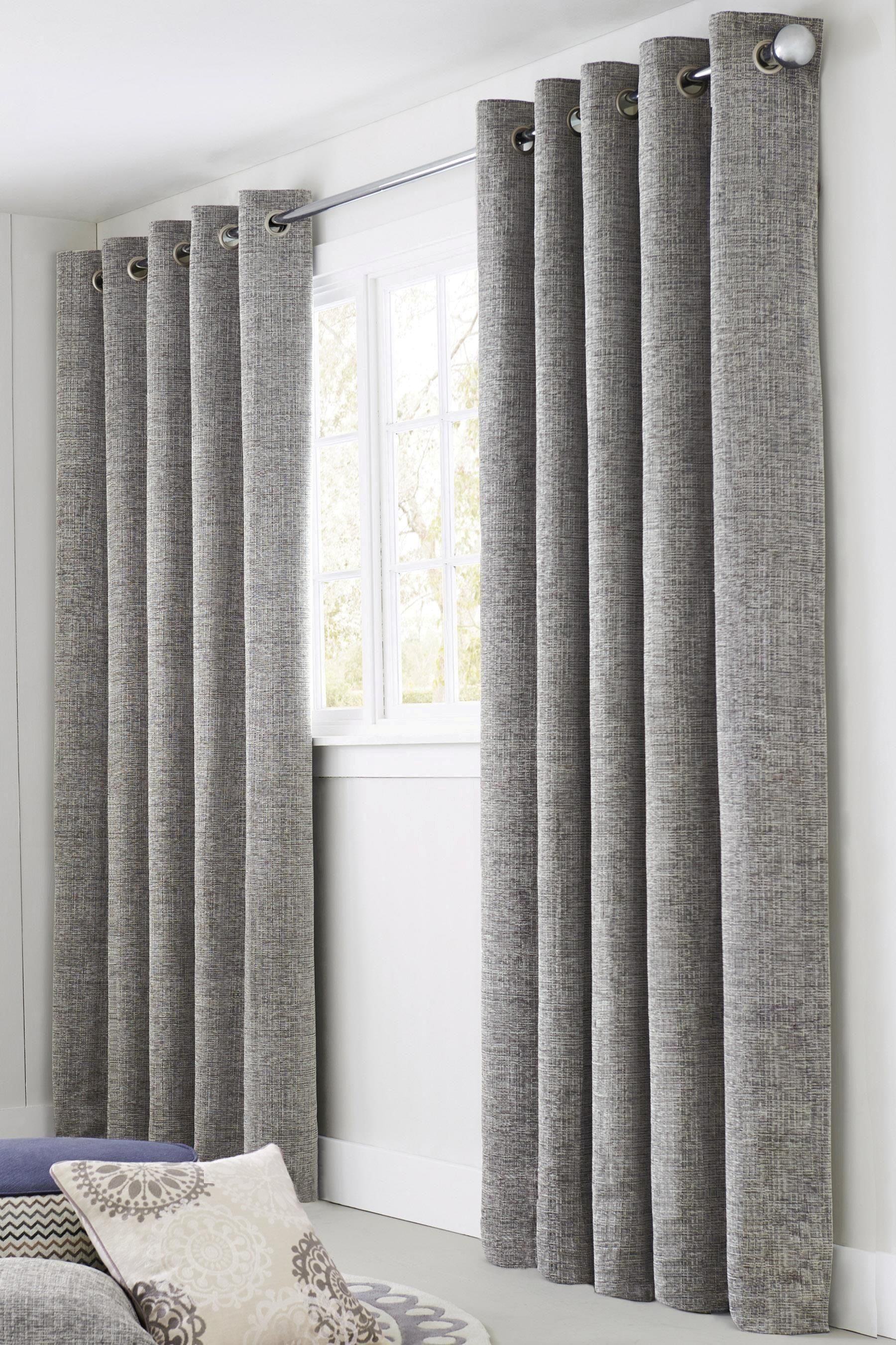 Buy Silver Textured Chenille Eyelet Curtains From The Next