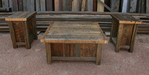 rustic coffee table set Reclaimed Barnwood Rustic Coffee & End Table Set by EchoPeakDesign  rustic coffee table set