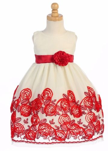 Ivory Tulle Girls Holiday Dress With Red Satin Floral Soutache & Sequins