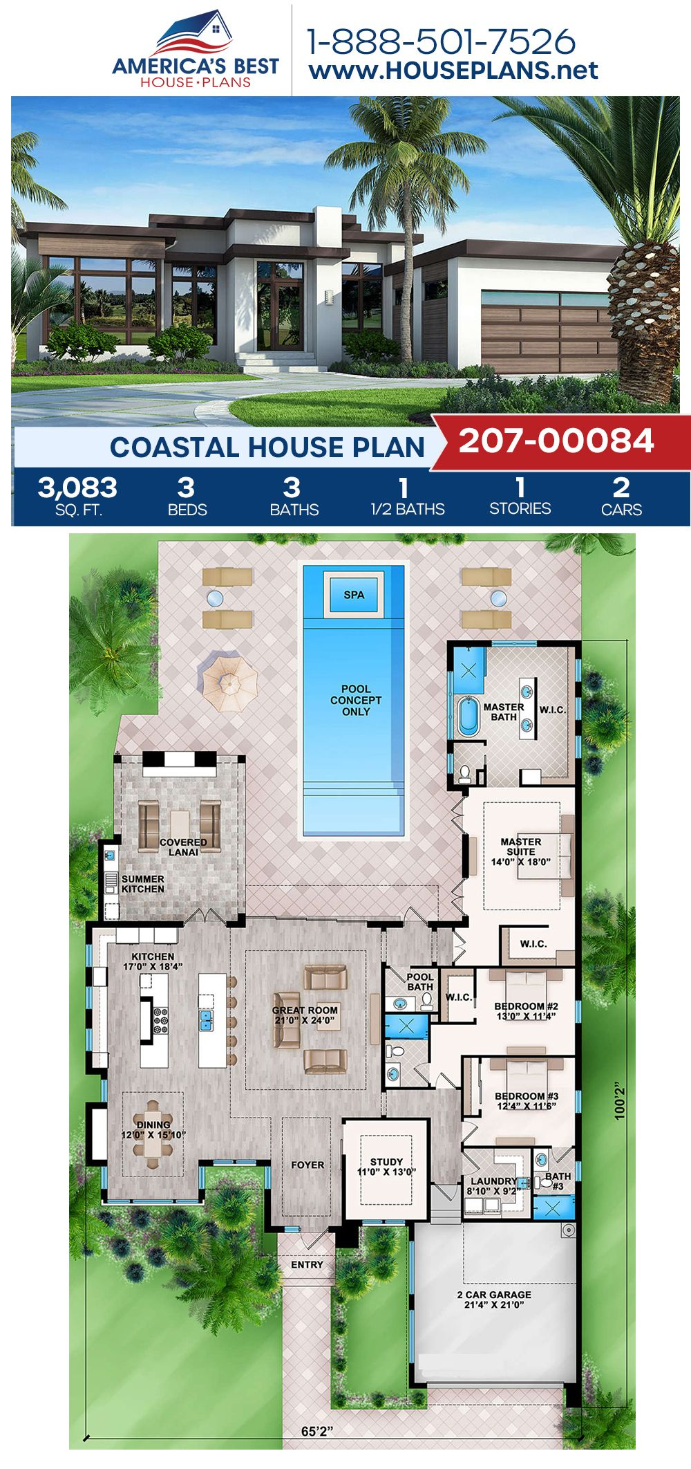 House Plan 207 00084 Modern Plan 3 083 Square Feet 3 Bedrooms 3 5 Bathrooms In 2020 Coastal House Plans Mansion Floor Plan Modern House Floor Plans
