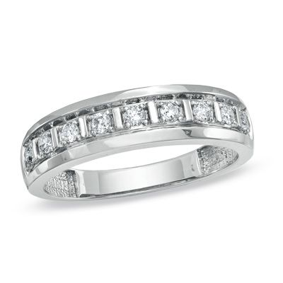TW Diamond Wedding Band In 10K White Gold