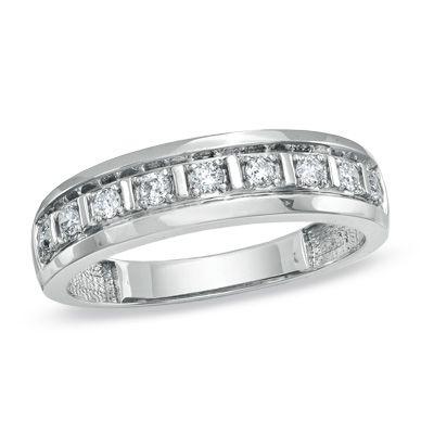 Mens 13 CT TW Diamond Wedding Band in 10K White Gold Zales