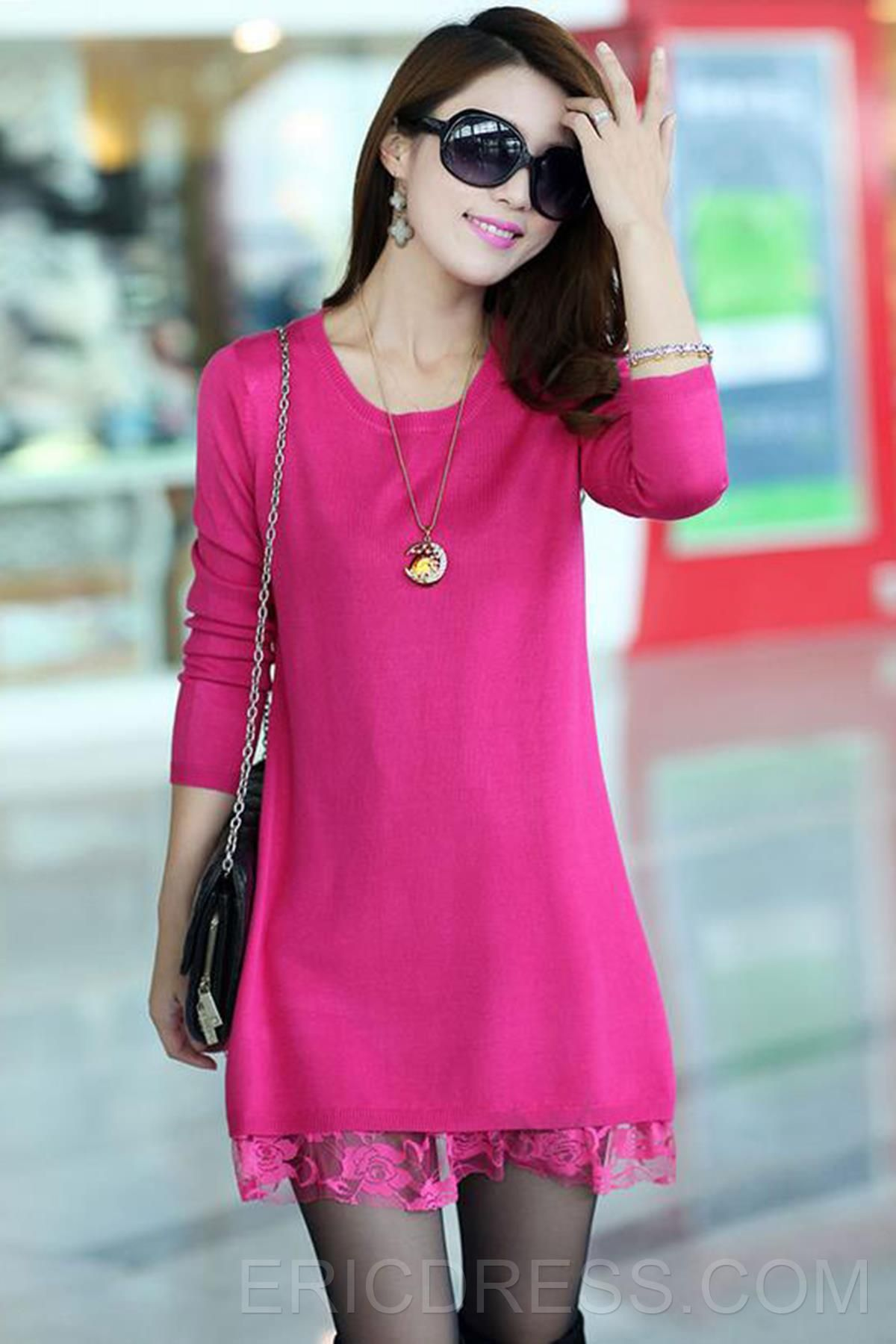 Multi Color Round Neck Lace Edge Sweater Dress Sweater Dresses