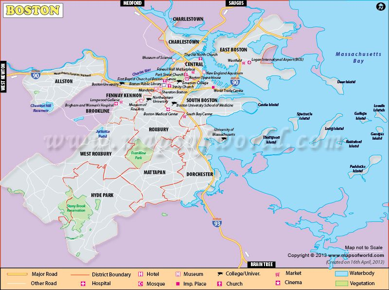 Boston City Map In Massachusetts State Of The US World - Map of largest cities in us