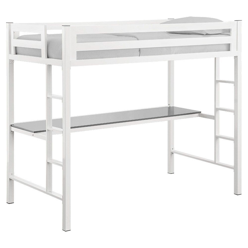 Loft bed organization ideas  Premium Deluxe Twin Metal Loft Bed with Workstation  White