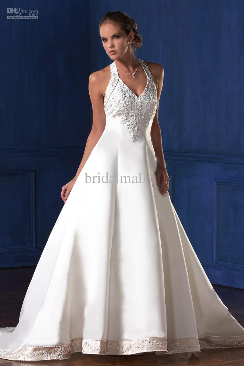 Eden Bridal Elegant White Embroidered beaded Halter satin A-line ...