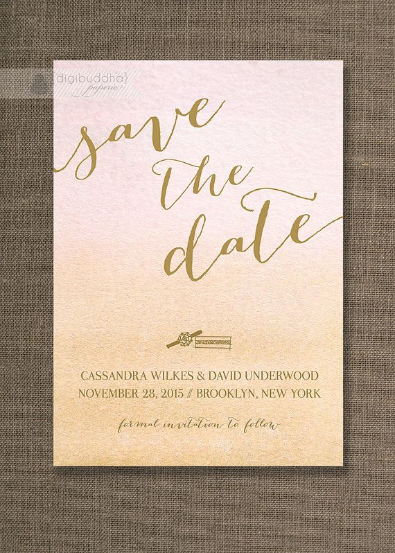 Gold & Ombre Watercolor Save The Date Card Invitation Rings Pink ...