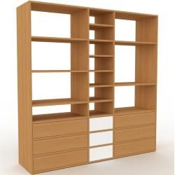 Photo of Holzregal Eiche – Skandinavisches Regal aus Holz: Schubladen in Eiche – 190 x 195 x 47 cm, Personali