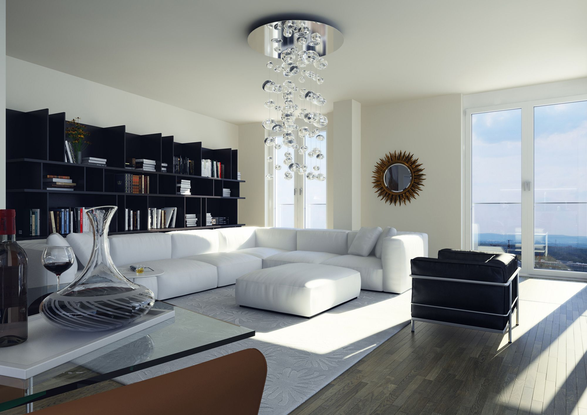 Floortoceiling windows throughout ensure that all rooms