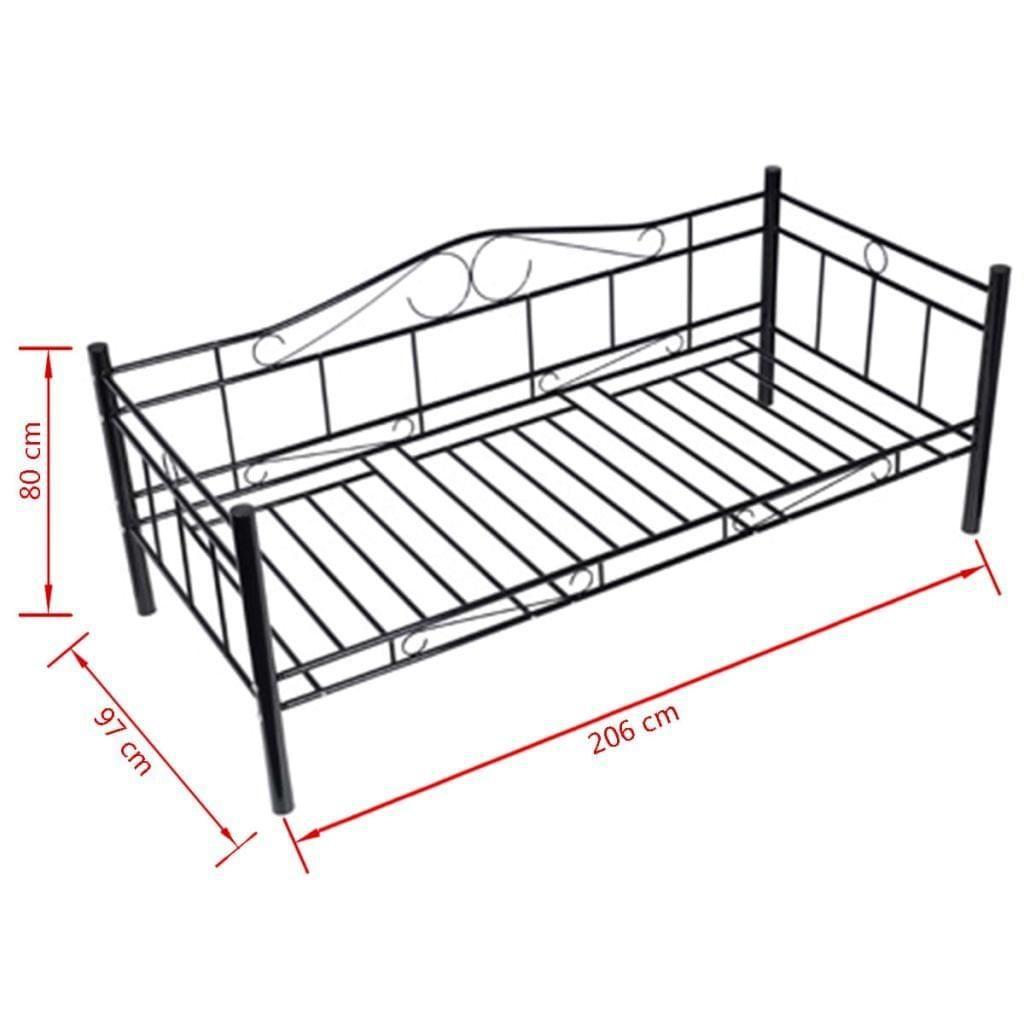 Klassisches Bett vidaXL Bett mit Matratze 90×200 cm Metall