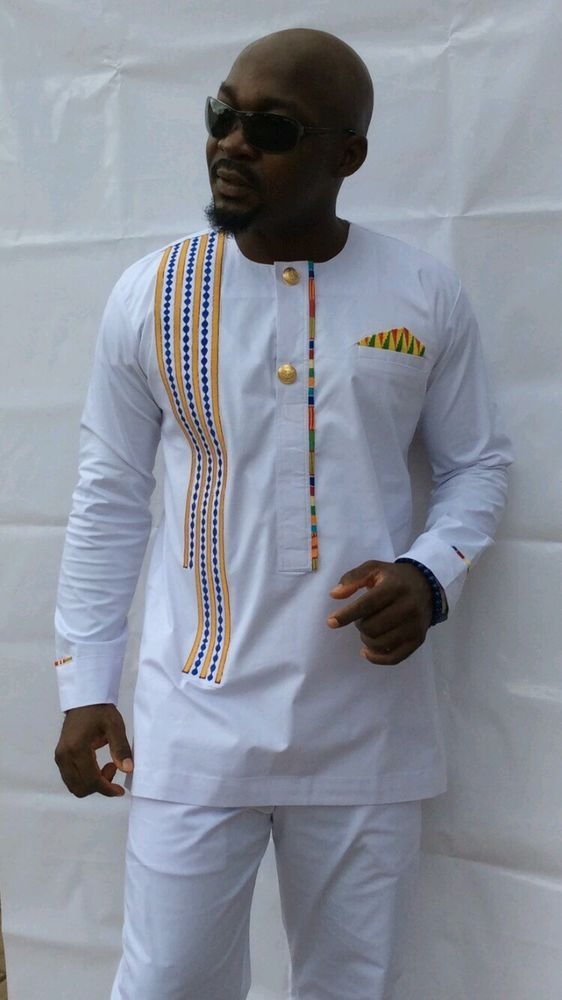 Details about Odeneho Wear Men's Polished Cotton Top/Embroidery And Kente. African Clothing