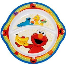 Since my daughter recently started eating and she loves Elmo, this was a great start. It has two divisions. I usually put pasta or rice in the bigger one, and some kind of protein in the top one, and a fruit or veggie in a separate dish on the side. This is microwaveable and dishwasher safe. We love it! It's just $5.18 free shipping from Amazon. I also found this at Walmart for a bit cheaper.