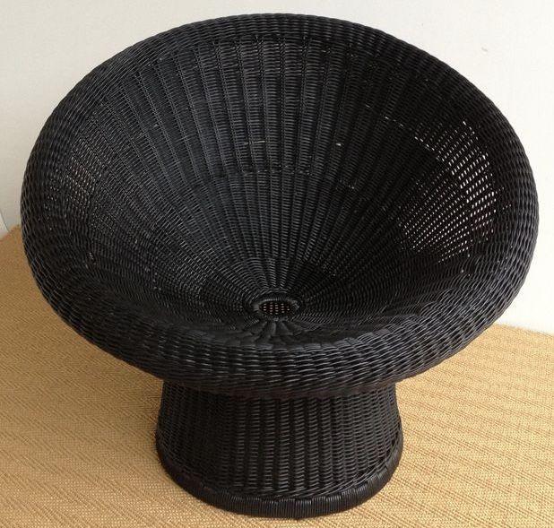 Egon Eiermann – black rattan armchair, model E10