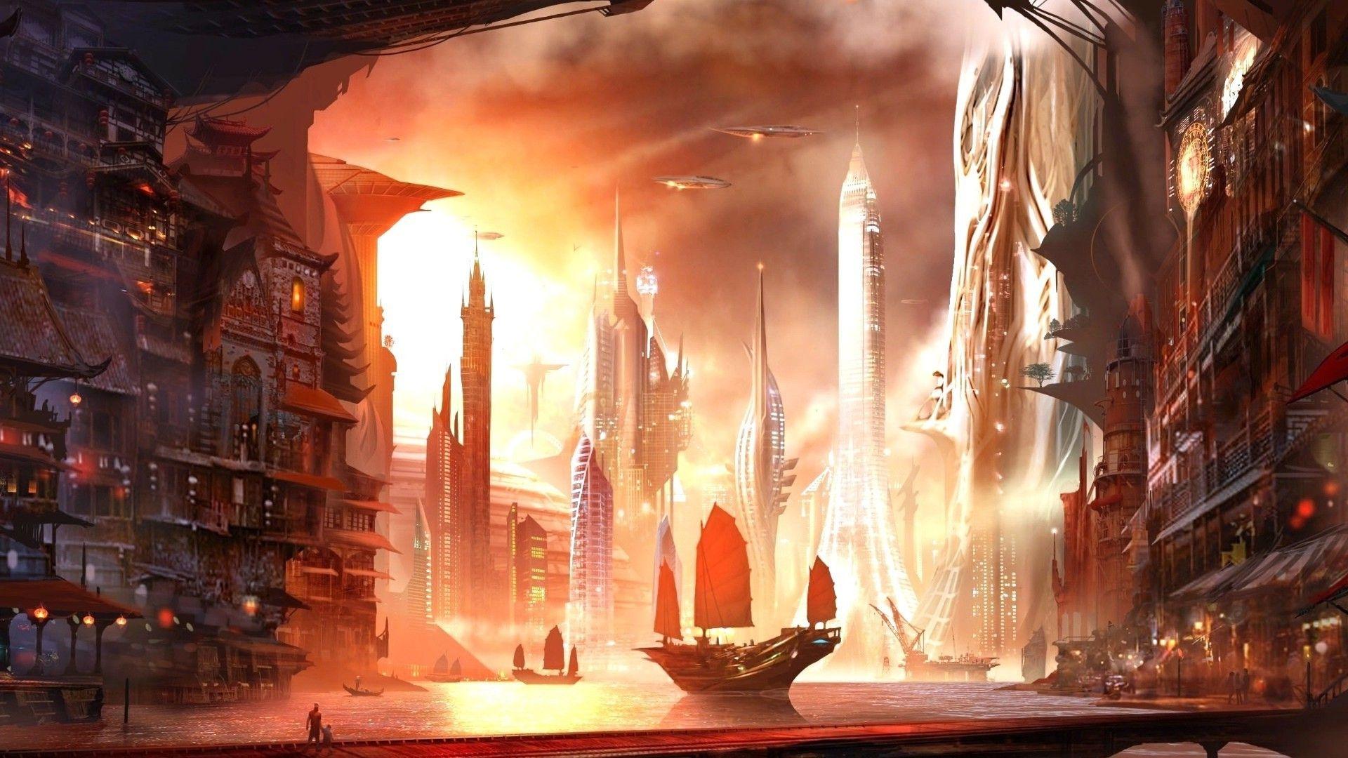 Asian City Fantasy City City Wallpaper Futuristic City