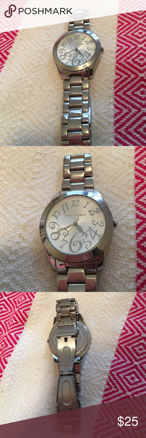 Betsy Johnson stainless steel watch Betsy Johnson stainless steel watch. Water resistant. Working battery. Large face. Betsey Johnson Accessories Watches