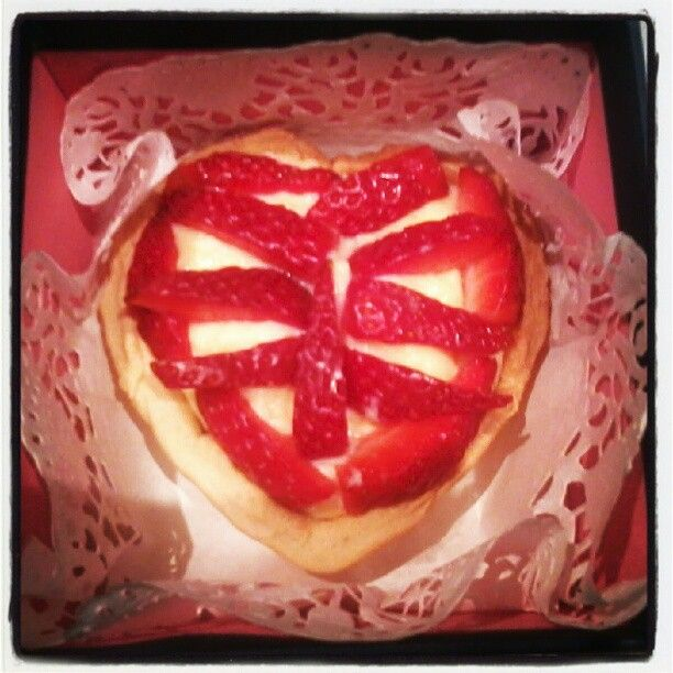 heart-shaped strawberry tart