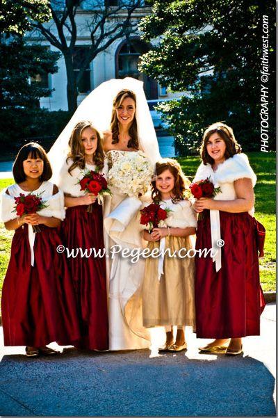 claret bridesmaid dresses | Gold and Claret Red jr ...