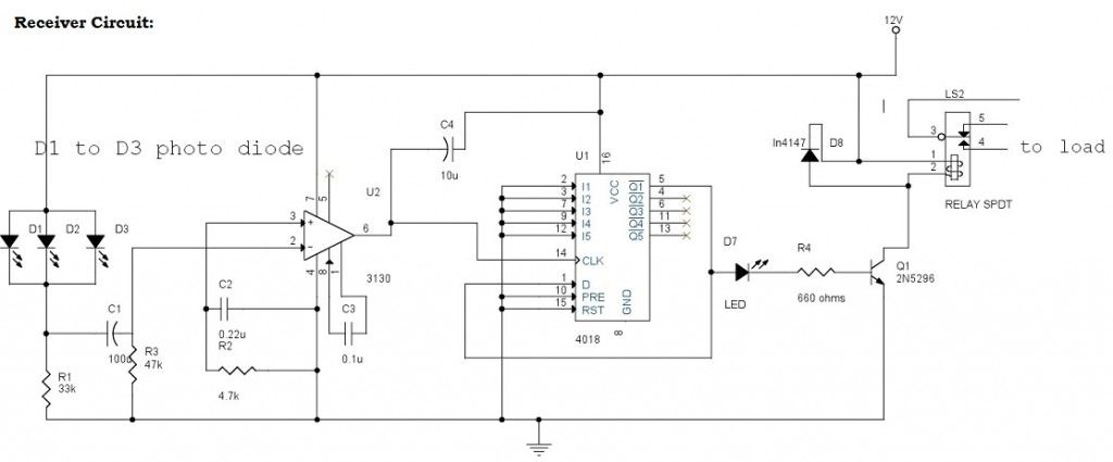 IR (Infrared) Remote Control Switch Circuit and