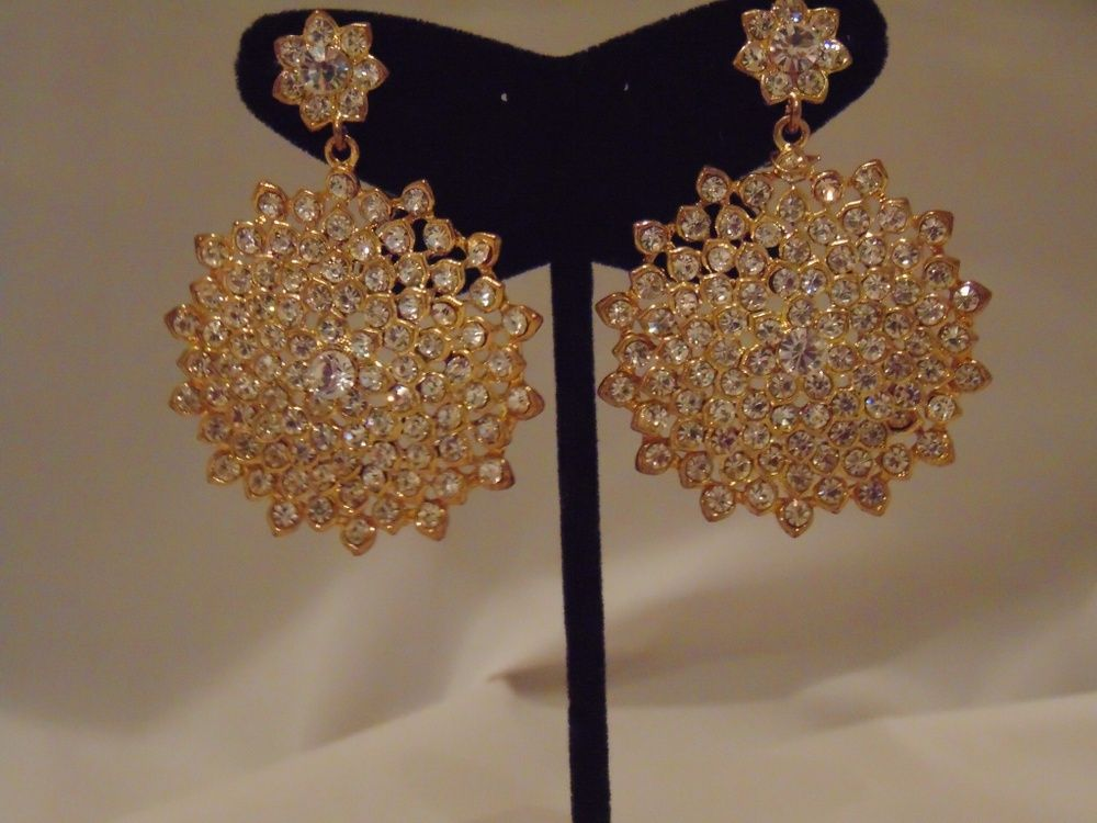 "Glazed Luxe Collection Gold Rhinestone Laced Earring Set (""Frosted"" Lady Cake)"