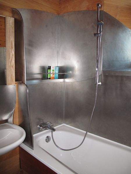 sheet tile for showers. Sheet metal shower interior  no tiles cracks water enters the construction