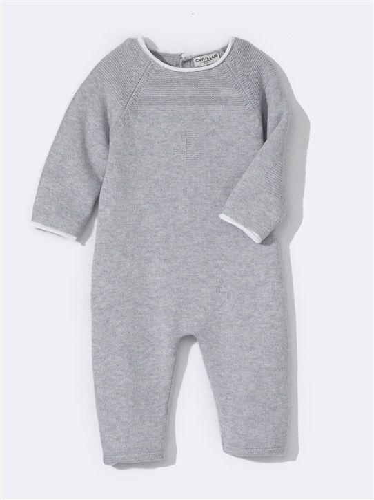 combinaison b b tricot laine coton gris clair chine rose pale tricot pinterest. Black Bedroom Furniture Sets. Home Design Ideas