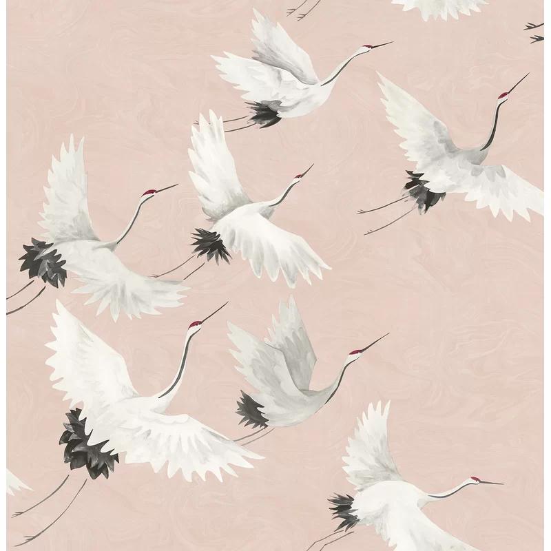 Windsong Crane 10m X 52cm Wallpaper Roll Animal Print Wallpaper Bird Wallpaper Print Wallpaper