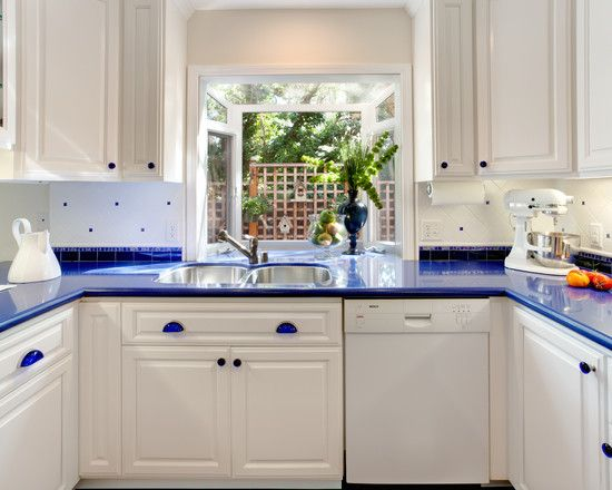 White Cabinets Blue Countertops