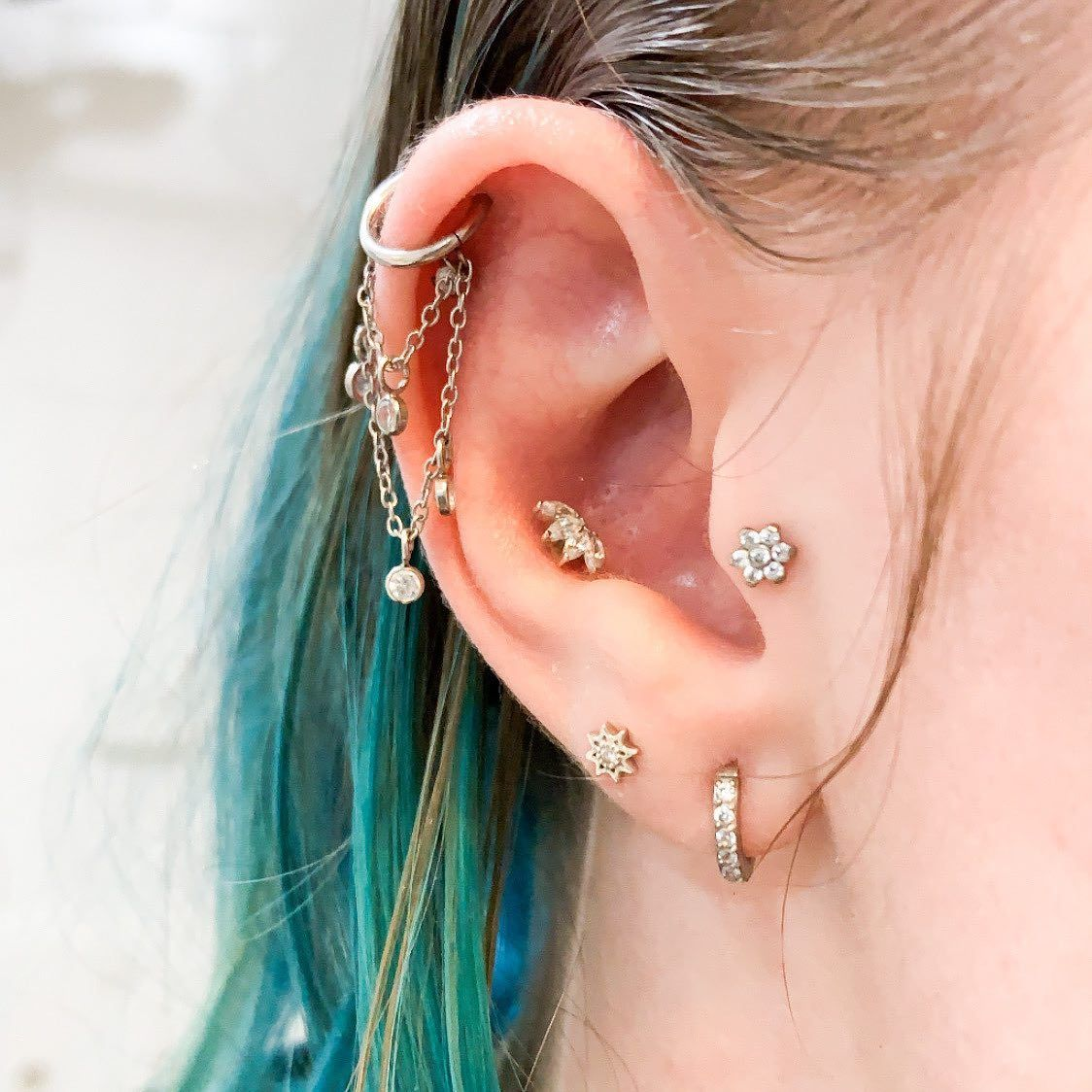 CZ Simple cartilage earring silver blue cartilage stud Tragus earring conch stud