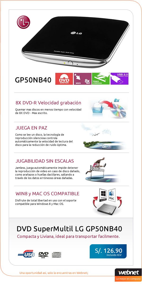 Grabador de DVD portátil LG modelo GP50NB40 a precio insuperable!