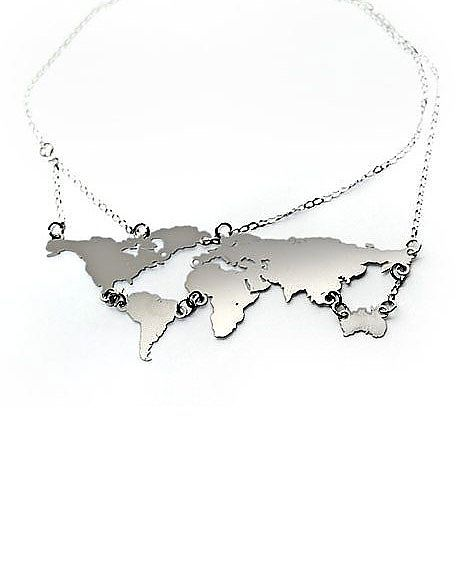 Love how all the continents are attached so stylish pinterest world links necklace cool design but the result is a little clunky would love this with better chain and link connections gumiabroncs Choice Image